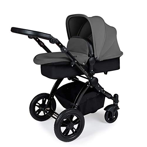 Ickle Bubba Stomp V3 2-in-1 Carrycot & Pushchair Travel System (Grey with Black Handles, Black Chassis)
