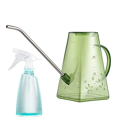 Doinh Regadera, botella de riego de 1,4 l de largo para jardín, maceta de riego de acero inoxidable, rociador de riego transparente, herramientas de rociador para casa de interior, oficina, verde