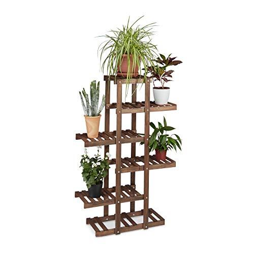 Relaxdays Blumenregal aus Holz, 5 Ebenen, Blumenständer für innen, Mehrstöckig, HBT: ca. 125 x 81 x 25 cm, dunkelbraun
