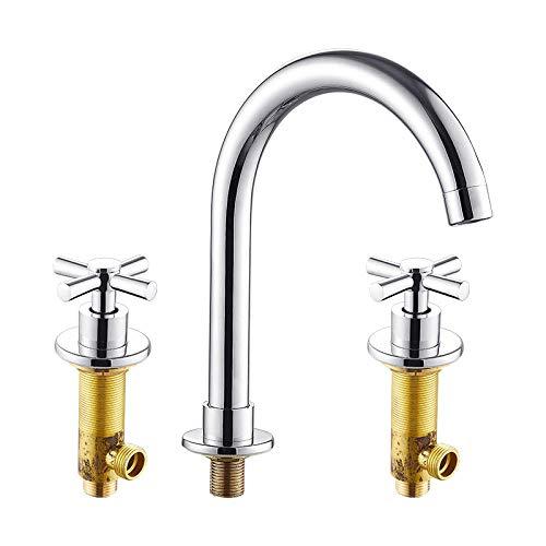 QQYX Armatur Waschtischarmatur Wasserfall Einhandmischer Für Bad Waschbecken Dreiloch-Doppelwaschbecken Warm- Und Kaltwaschbecken