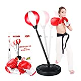 KIZZYEA Punching Bag for Kids, Boxing Set Includes Boxing Gloves, Punching Bag, Standing Base with Adjustable Stand, and Hand Pump Toy for Boys and Girls Ages 5,6,7,8,9,10 Years Old