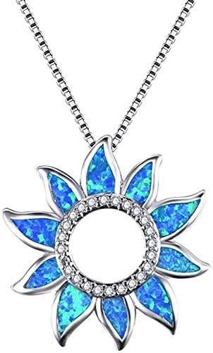 PPQKKYD Collar Moderno Exquisito Arco Iris Hueco Girasol Encanto Colgante Azul ópalo de Fuego Collar Boda je