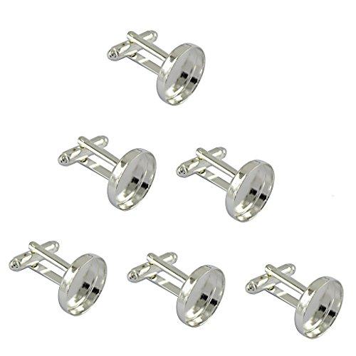 6pcs Rund Manschettenknöpfe Rohlinge Fassungen für Cabochons Silber