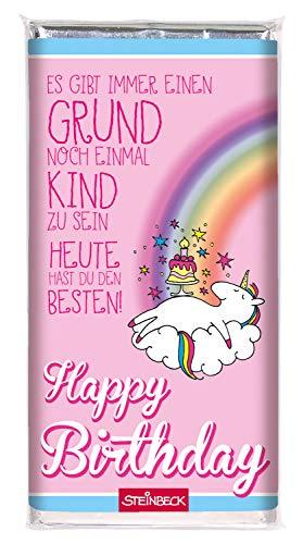 STEINBECK Einhorn Geburtstag Schokolade Geschenk Vollmilch 100g Tafel Happy Birthday pink Glitzer...