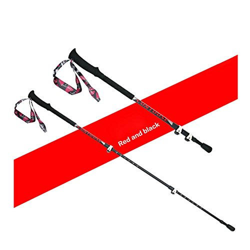 Lmzyan Manette droite télescopique extérieure Sticks de randonnée / Poteaux de marche, Alliage d'aluminium Hauteur réglable 65-135cm , red