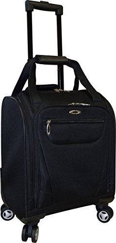 Kemyer 15 Inch Underseater Spinner With Laptop Pocket- Carry-On Wheeled Luggage (Black)