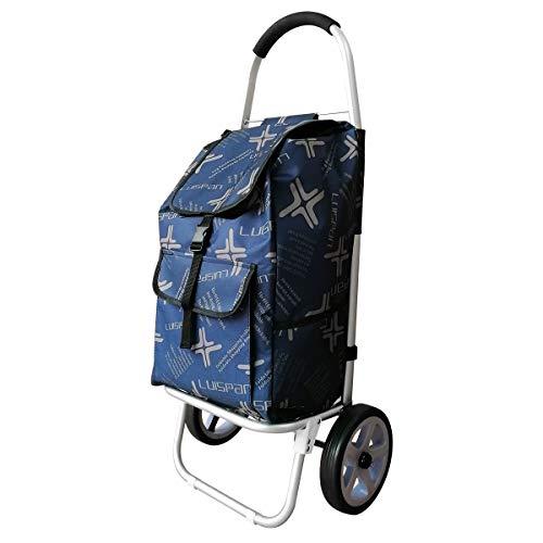 41vHkaH0gGL - DoubleBlack Einkaufswagen mit 2 Silent Wheels Abnehmbare Tasche Aluminiumlegierung Klappzug Schubwagen Max. Kapazität 40 kg für ältere Menschen, 101 x 44 x 34 Zentimeter, 48L - Navy Blau