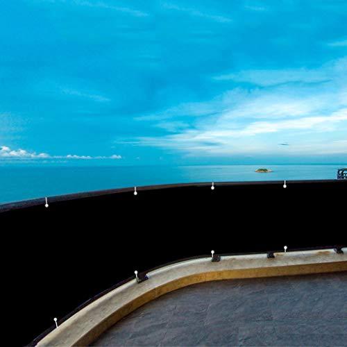 Aiyaoo Pantalla de Balcón Jardín 80x650cm Malla Antienvejecimiento Valla Privacidad con Cuerda de Nylon y Bridas para Jardín Balcón Terraza Piscina Negro