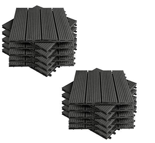 EUGAD 22x Suelo de Exterior WPC 30x30cm Terrazas del Piso 22 Set 2? Baldosas de Madera para Jardin, Terraza Antracita