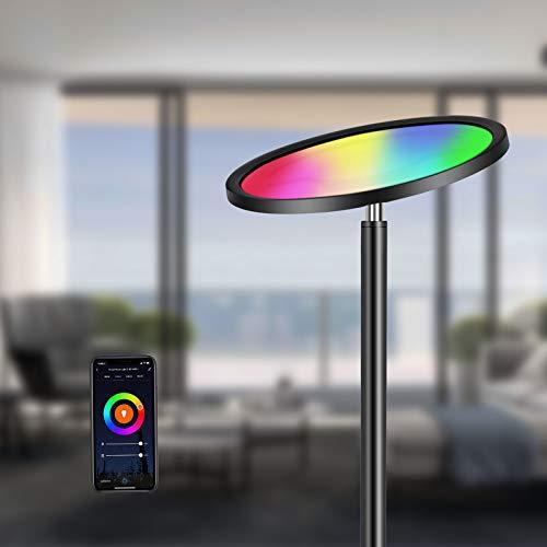 Oeegoo RGB Lámpara de pie LED, Wifi inteligencia Lampada da Terra regulable, 25W Piantana LED, para salón, dormitorio,...