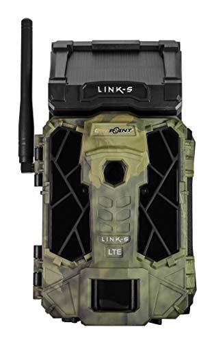 SPYPOINT Link-S-V Solar Cellular Trail Camera, 4G/LTE, 12MP HD Video, Patented Solar Panel, Blur Reduction&IR Boost, 0.07s Trigger, 100' Detect/Flash