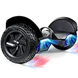 SISIGAD 8.5' Solid Tires Off Road Hoverboard, All Terrain Self Balancing Scooter with 700W Motor, Bluetooth Speakers and LED Lights, Portable Handle