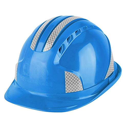 【?????????? ???????????? ????????】Simlug 労働者のための安全ヘルメット、換気保護キャップABSヘルメット反射ストライプ安全ヘルメット建設現場用(青)