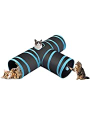 RioAndMe Pet Cat Tunnel - Collapsible 3 Way Play Toy, Tube Fun for Rabbits, Kittens and Dogs