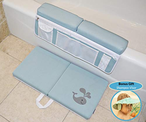 Baby Bath Kneeler Knee & Elbow Pads and Bonus Shampoo Visor