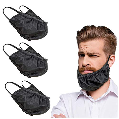Mens Beard Covers, Beard Bandana Beard Apron Guard Beard Caps Bedtime Bib, Adjustable Facial Hair Apron Guard Rag Bonnet Beard Gains(3 Pcs, Black)