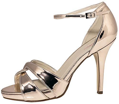 Rainbow Club Brautschuhe Cate - Damen High Heels gepolstert, Rosé-Gold, Glanzlack - Gr. 37.5 (UK 4.5)