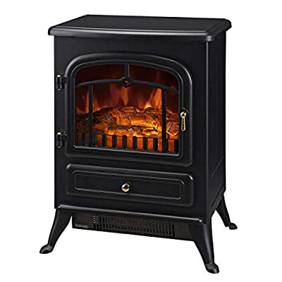 "HOMCOM Freestanding Electric Fireplace Heater with Realistic Flames, 21"" H, 1500W, Black"