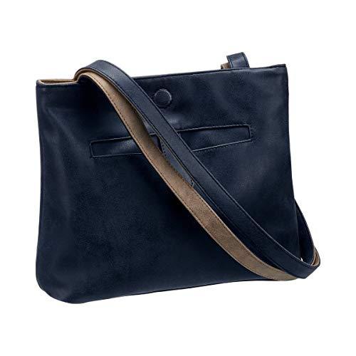 Unbekannt Wendetasche, Taschezum Wenden, Tasche mit Hauptfach & Seitenfach, Magnetverschluss, Kunststoff, 25 x 30 x 6 cm, blau, beige