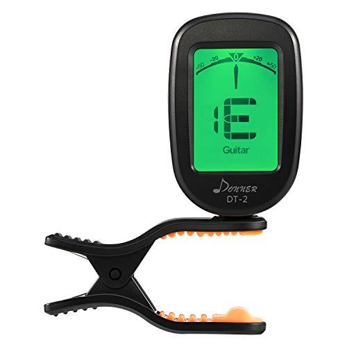 Donner Accordeur de Guitare Chromatique à Clip Tuner Portable pour Guitare, Basse, Violon, Ukulélé et Banjo, avec Ecran LCD 360° Rotation, Batterie Incluse (DT-2)