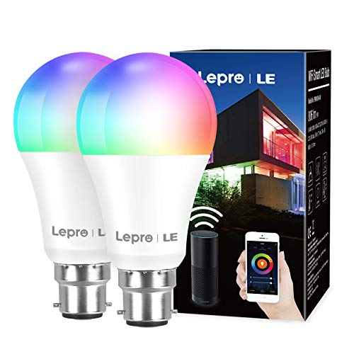 Lepro WiFi Smart Bulbs B22, APP or Voice Control LED Bayonet Bulbs, Compatible with Alexa and Google Home, RGB + Warm to Cool White, Dimmable, 9W = 60W, No Hub Required (2.4GHz Only)