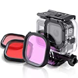QKOO Dive Filter Kit for GoPro Hero 8 Black Official Original Waterproof Protective Housing - Red, Light Red and Magenta Filter (3-Pack) - Enhances Colors for Various Underwater Video and Photography