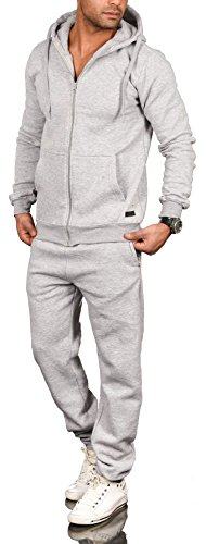 A. Salvarini Herren Jogging Anzug Trainingsanzug Sportanzug Sweatshirt AS071 [AS-071-Hellgrau-Gr.XXL]