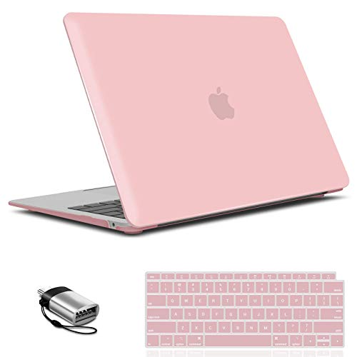 IBENZER MacBook Air 13 Inch Case 2020 2019 2018 New Version A1932, A2179, Hard Shell Case with Keyboard Cover &Type C for Apple Mac Air 13 Retina with Touch ID, Rose Quartz, MMA-T13RQ+1TC