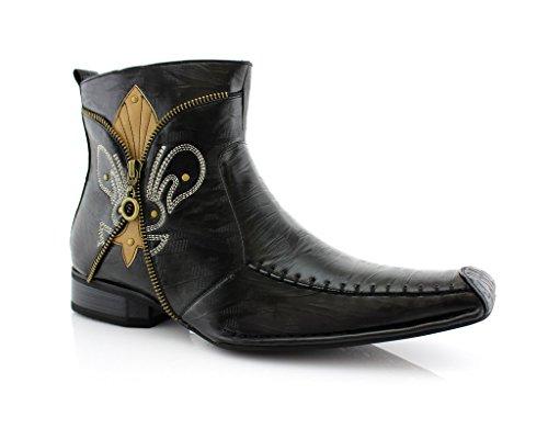 Delli Aldo Men's 668 Square Toe Fleur De Lis Design Zipped Ankle Dress Boots, Black, 8