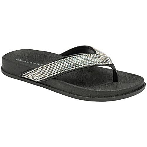 Dunlop Flip Flops / Sandalen mit Zehensteg, flach gepolstert, - schwarz/silberfarben - Größe: 37 EU
