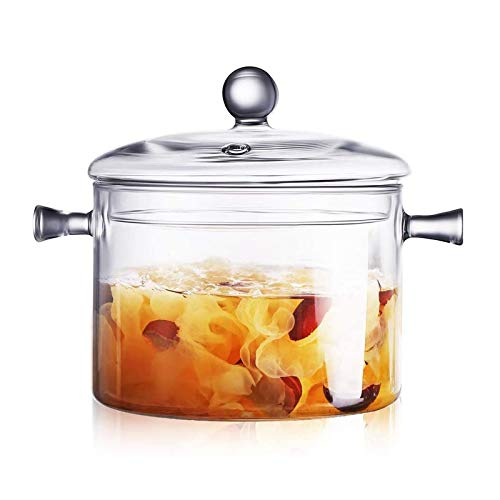CHENMAO Glass Saucepan with Cover, Heat-resistant Glass Stovetop Pot and Pan with Lid, The Best Handmade Glass Cookware Set Cooktop Safe for Pasta.