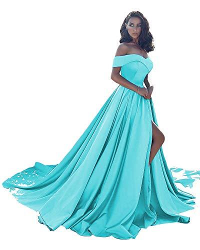 Ball Gown Satin Prom Dresses Long Off Shoulder Split Formal Wedding Dress for Women