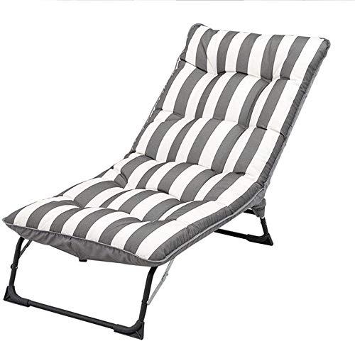 HYDDG - Silla de sol ajustable, plegable, con almohadilla de esponja, respaldo de 3 archivos adaptable, sin ruido, para jardín, gris + blanco, gris + blanco