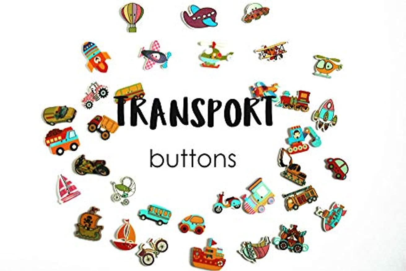 33 Mixed Transportation Wooden Buttons, The Full Collection, Two Holes Sewing Buttons, Cartoon Vehicles sew on Button, 1.5-3.5cm