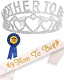 Baby Shower Decoration, Mother to Be Tiara Crown, Baby Shower Gifts, Mom to Be Sash, Dad to Be Pin, Baby Shower Party Favors Decorations Gift Boy or Girl, Gender Reveals Party Gifts, Great for New Mom