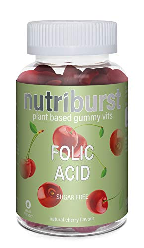 NUTRIBURST | FOLIC Acid for Healthy Heart and Red Blood Cells | Gummy Vitamins | Plant Based, Sugar Free Supplements | 60 Gummies 1 Month Supply | Advanced Nutrition Suitable for Vegetarians & Vegans
