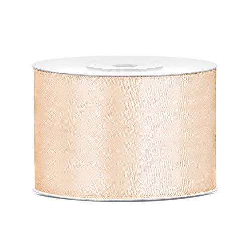 DaLoKu Satinband 6/12/25/38/50/100mm x 25m Geschenkband Schleifenband, Größe: 50mm x 25m, Farbe: Creme