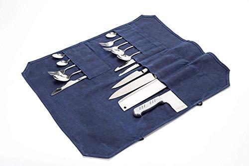 Sac à Couteaux de Chef étanche à 16 Compartiments, en Toile cirée, Organiseur de Couteaux, étui de Rangement pour Couteaux avec Deux Cordons de sécurité pouvant contenir 7 Couteaux, 3 viandes HGJ60-D