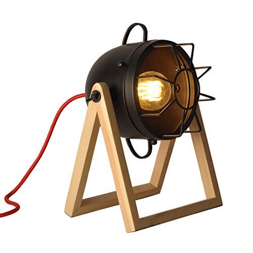 Lámparas de mesa Industriales para Dormitorio, Lampara de Escritorio Vintage para sala de Estar, Escritorio Moderna y Contemporánea con Madera Natural para Niños, Lámpara de Noche Pequeña