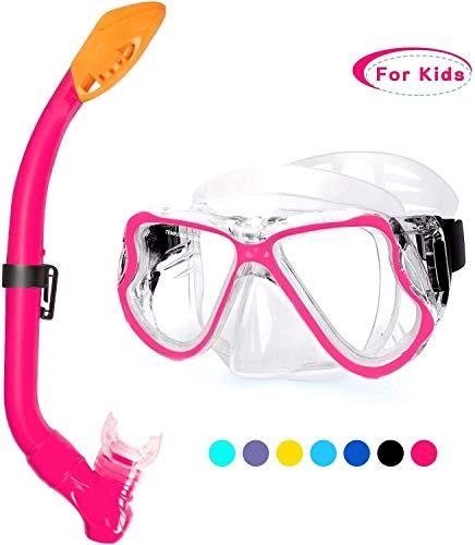 BTXX Dry Schnorchel-Set, Anti-Fog Tauchen Maske, Panorama-Blick Tauchen Goggle, Easy Breathing and Professional Schnorchelausrüstung for Erwachsene und Kinder (Farbe : Kids-Pink)