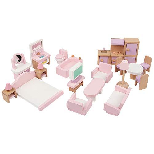 Kamenda 22 Piezas de Muebles de Casa de Mu?Ecas de Madera, Juego de Juguetes para Ni?Os, Muebles en Miniatura para Ni?Os, Juego de Casa de Mu?Ecas