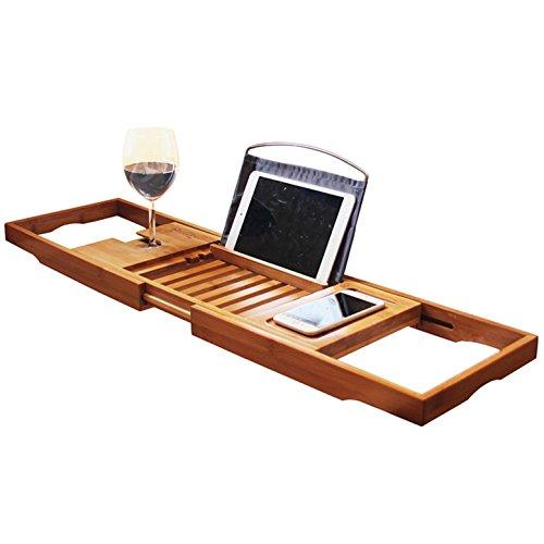 RoseFlower® 104 x 20 cm Badewannenablage aus Bambus Ausziehbar Badewanne Caddy Badewanne Tablett mit Verstellbarer iPad, Buch, eReader, Handys, Wein Glas Halter - für das ultimative Verwöhnerlebnis #5