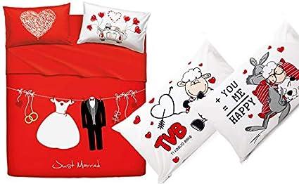 Bassetti Completo Lenzuolo Matrimoniale Home Innovation Love Couple Due Federe Singole Fantafedera Happy Message Amazon It Casa E Cucina