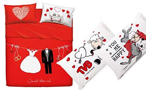 Bassetti Completo Lenzuolo Matrimoniale Home Innovation Love Couple + Due Federe Singole FANTAFEDERA Happy Message