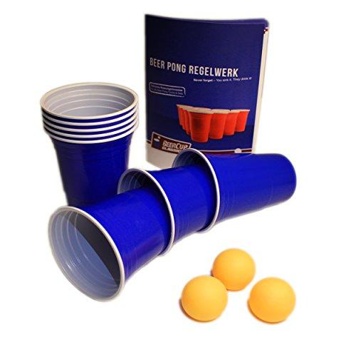 Blauwe mokken, Blue Party Beer Pong Cups 16 oz. 473 ml blauw incl. oranje Beer Pong ballen en Beer Pong regels