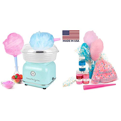 Nostalgia CLCM8AQ Classic Retro Hard and Sugar Free Countertop Cotton Candy Maker with Cotton Candy Party Kit