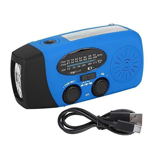 Samfox Handkurbel AM/FM Handy-Ladegerät Radio mit Taschenlampe für den Notfall(Blau)