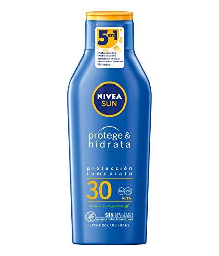 NIVEA SUN Protege & Hidrata Leche Solar FP30 (1 x 400 ml), protector solar hidratante y resistente al agua con protección UVA/UVB, protección solar alta
