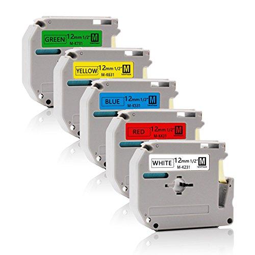 5x Labelwell 12mm 1/2 Kompatibel Schriftband Ersatz für Brother MK231 MK431 MK531 MK631 MK731 Nicht-Laminiertes für P-touch PT-90 PT-M95 PT-80 PT-100 PT-110 PT-65 PT-70 PT-85 PT-BB4 Beschriftungsgerät