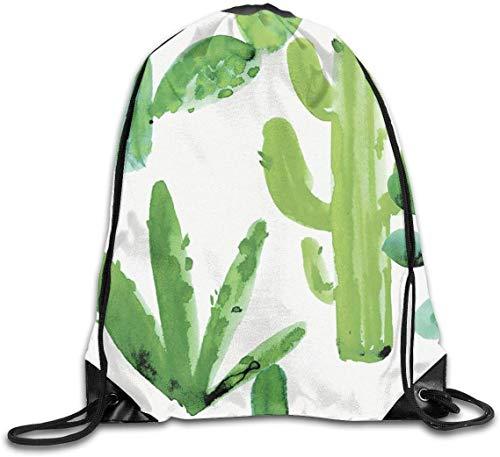 engzhoushi Turnbeutel,Sporttaschen,Schultasche Drawstring Gym Bags Hiking Hiking Daypacks Green Cactus